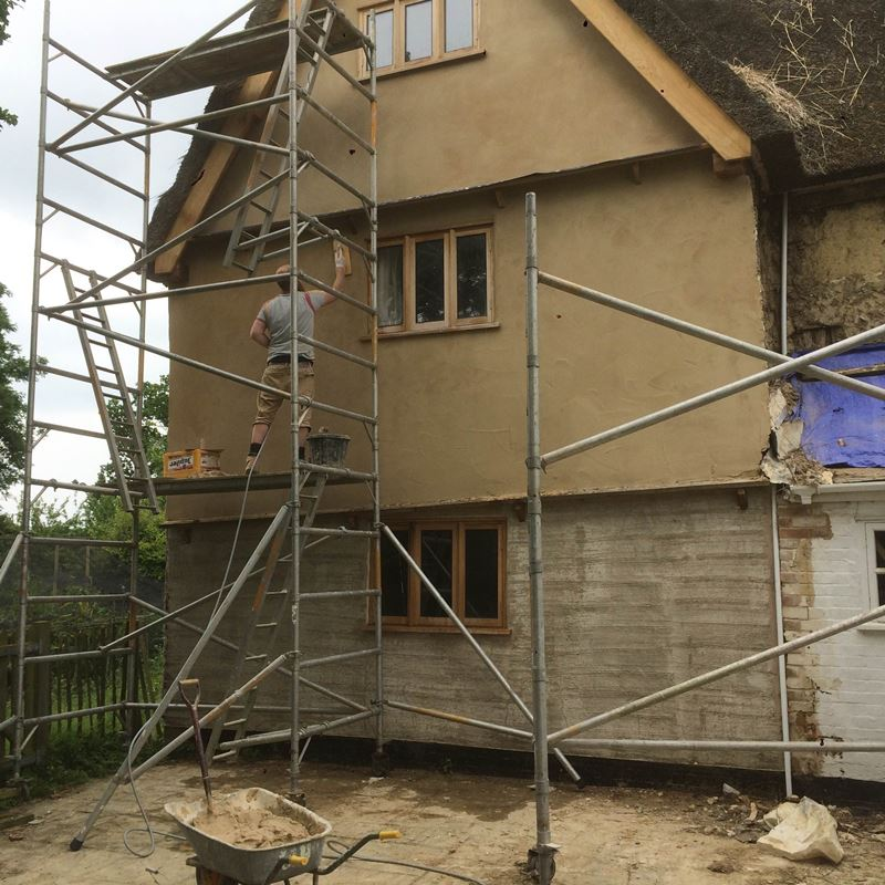 Lime Plaster Project On A 300 Year Old Thatched Roof Farmhouse